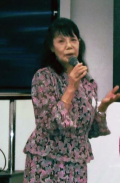 心とからだ健康づくりの集いで講演する松永満智子